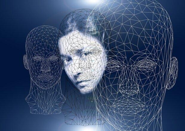 El Cuerpo en la terapia: Los fundamentos de la Bioenergética. Rostro de una mujer y varias imágenes geométricas dibujando caras, sobre fondo oscuro.