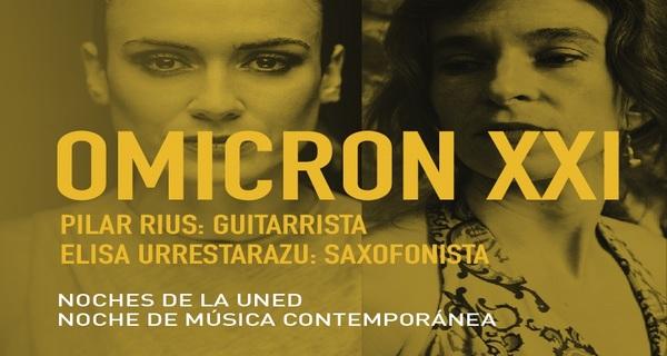 Concierto OMICRON XXI. Noches de la UNED 3 diciembre 2020. En el fondo de la imagen fotos de las dos componentes del grupo la guitarrista y la saxofonista.