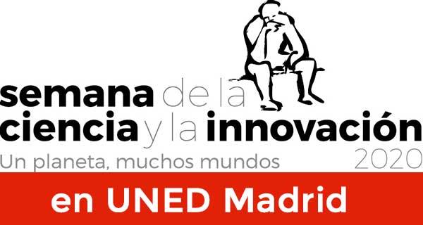 XX Semana de la Ciencia 2020. Silueta en negro sobre fondo blanco de una persona sentada pensando. Letras en negro destacando en negrita, semana ciencia e innovacion, sobre franja roja letras en blanco en UNED Madrid.