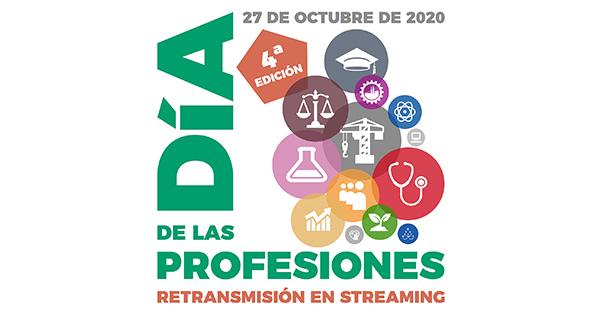 Día de los profesionales. 27 de octubre de 2020. 4ª edición.Titulo Día de los profesionales enmarcando iconos simbólicos de distintas profesiones.