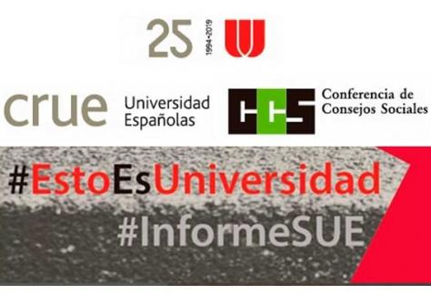 Presentación del informe «La contribución socioeconómica del Sistema Universitario Español» de la mano de la CRUE Universidades Españolas, junto a la Conferencia de Consejos Sociales de Universidades Españolas. Logos