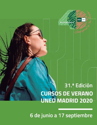 31.ª Edición CV UNED Madrid 2020, 6 de junio a 17 de septiembre. Rectángulo vertical, mujer con gafas, logo 40 Aniv. verde/sepia.