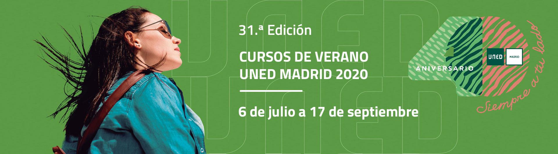 Slider 31.ª Edición. Cursos de Verano UNED Madrid 2020. 6 de junio a 17 de septiembre.
