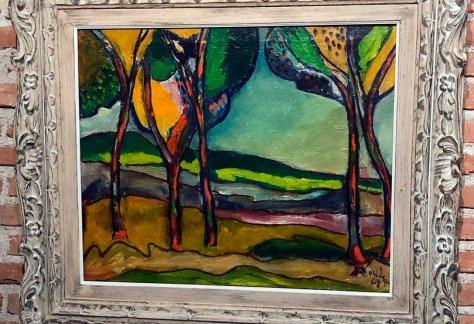 Pintura paisaje de Alejandro Conde, vestibulo de Escuelas Pías.
