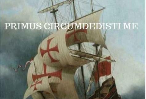 Yo Elcano. PRIMUS CIRCUMDEDISTI ME.ALBERTO APODAGA. Galeón navegando.