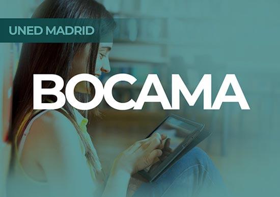 Portal BOCAMA UNED Madrid. Estudiante mirando tablet sonrriendo.